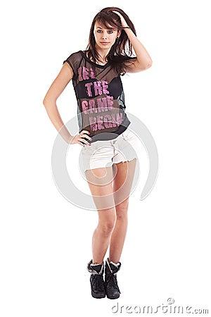Shorts desgastando da menina