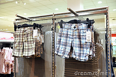 Shorts hanging in a store