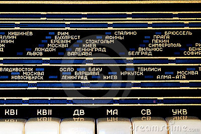 Shortwave radio panel with cyrillic letters