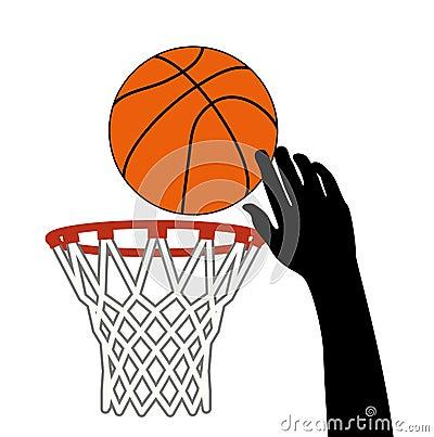 vector shot of basketball ball through a hoop