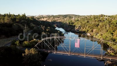 Shot of a bridge over the river.Drone.4K.California.USA. Shot of a bridge over the river.Drone.4K.California USA stock footage