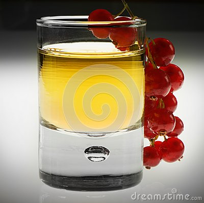 Shot glas with red fruit