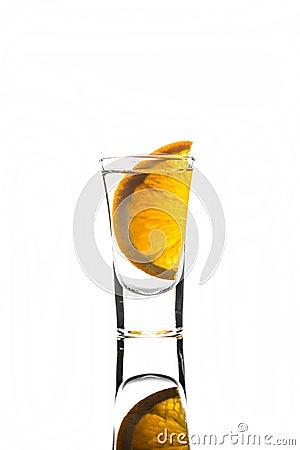Free Shot Glass With Orange Slice Stock Photos - 59482363
