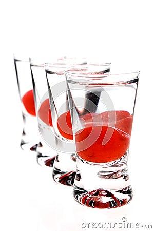 Shot glasses with vodka