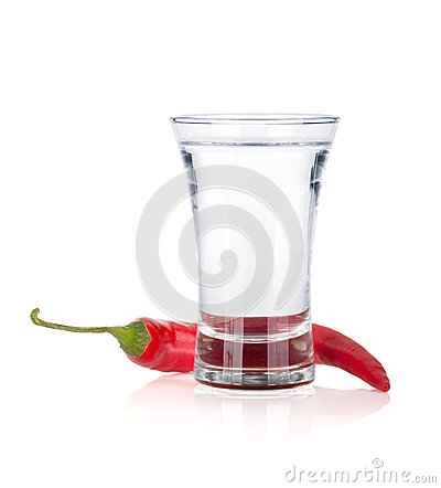 Free Shot Of Vodka And Red Hot Chili Pepper Stock Photography - 27750872