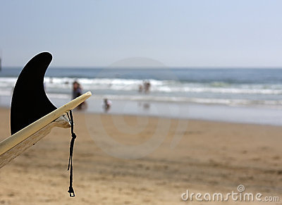 Shot of surf board with black fin