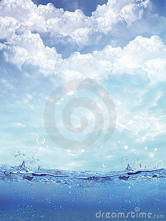 Shot of water splash against a tropical sky