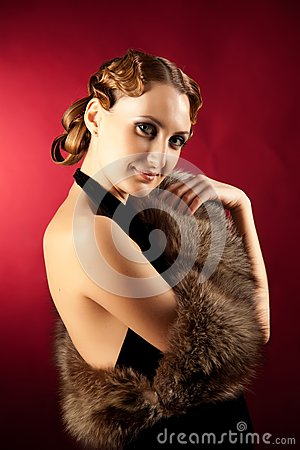 Shot of woman in classic style with fur
