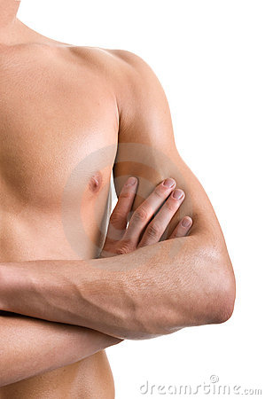 Shoulder and arm naked male body