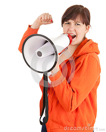 Shouting angry woman with megaphone
