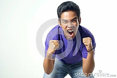 Shouting asian male teen