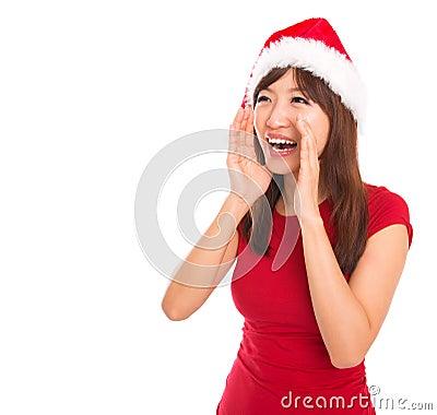 Shouting asiático da mulher de Santa