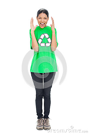 Shouting black haired model wearing recycling tshirt