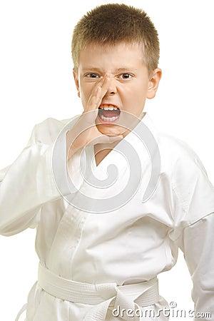 Shouting boy in kimono