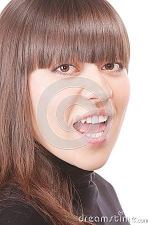 Shouting brunette in black
