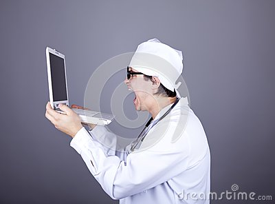 Shouting doctor with notebook.