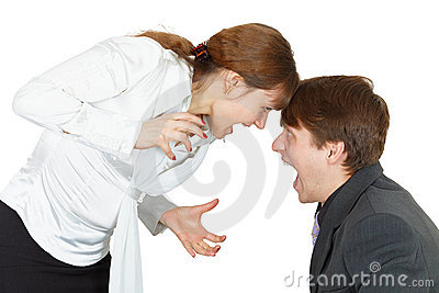 Shouting at each other man and woman