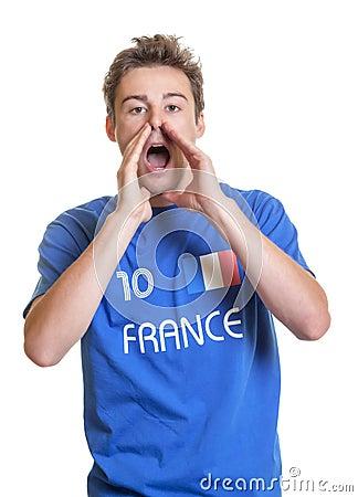 Shouting french soccer fan
