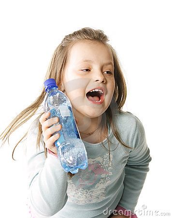 Shouting girl with water