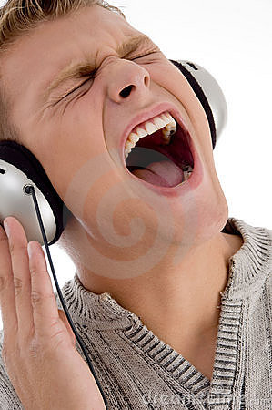 Shouting man with headphone