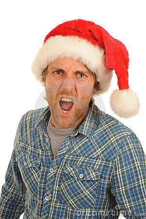 Shouting man Santa hat