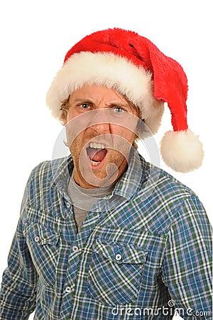 Shouting man Santa hat