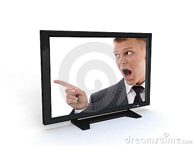 Shouting man in television