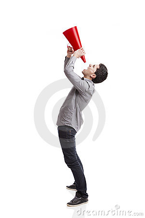 Shouting into a megaphone