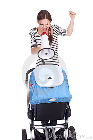 Shouting mother with megaphone and baby buggy