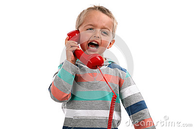 Shouting into a telephone