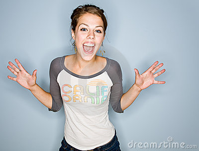 Shouting woman in jeans