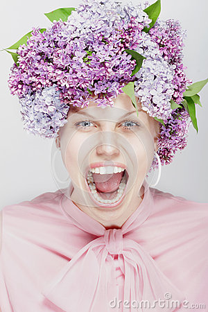 Shouting woman. Portrait of spring flowers.