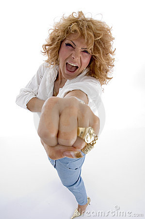 Shouting woman showing you punch