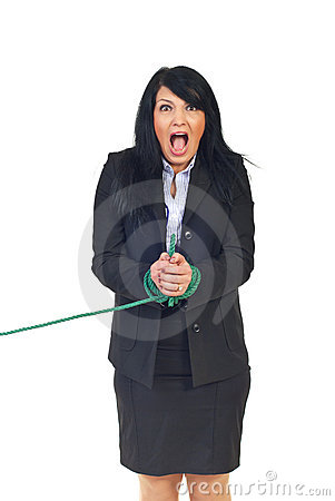 Shouting Woman With Tied Hands