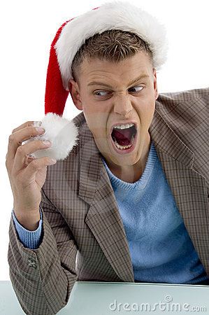 Shouting young man with christmas hat