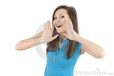 Shouting young woman with hands near face
