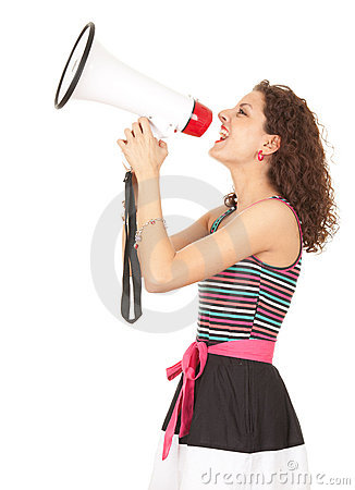 Shouting young woman with megaphone