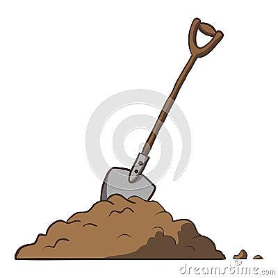 Shovel in dirt. Vector cartoon freehand