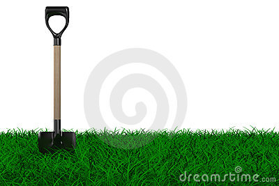 Shovel on grass. garden tool