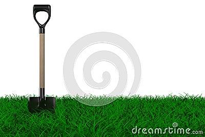 Shovel on grass. garden tool