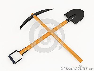 Shovel and pick, 3D