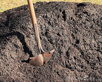 Shovel in pile of topsoil