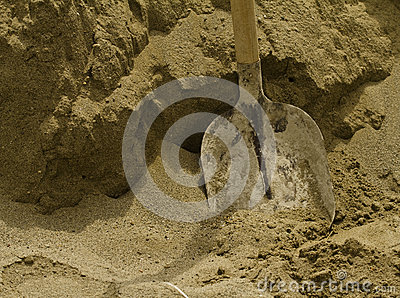 Shovel in the sand
