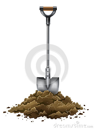 Shovel tool for gardening work in ground isolated on white