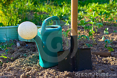 Shovel and watering can