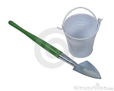 Shovel and White Metal Pail