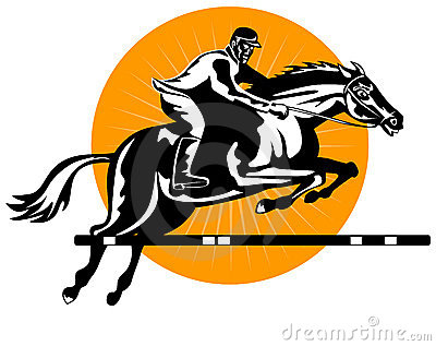 Show jumping woodcut style