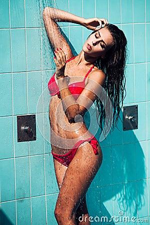 Shower in bikini