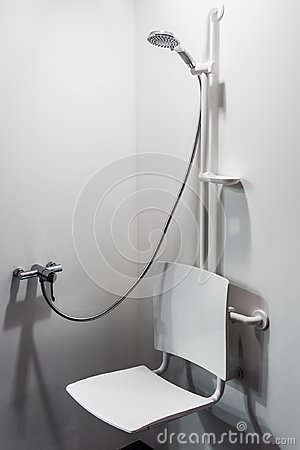 Free Shower With Seat And Grab Bars For Disabled And Elderly People Stock Images - 110539674