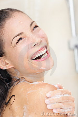 Shower woman happy